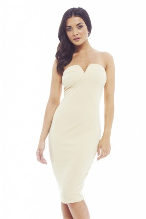 Women's Plain Plunge Front Beige Dress