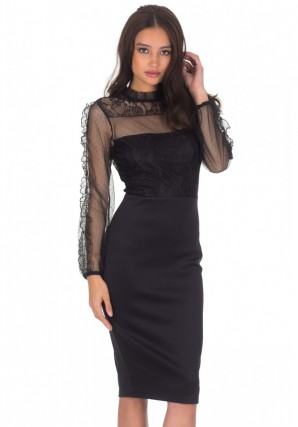 Women's Black Lace Sheer Sleeve Midi Dress
