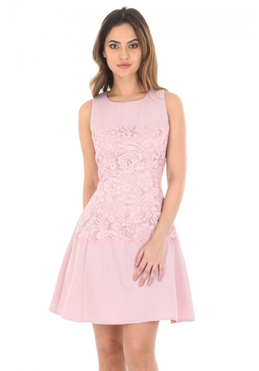 a7dea739d31c Women s Pink Lace Waist Skater Dress - AX Paris USA-Fashion Dresses ...