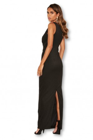 Women's Black One Shoulder Sparkle Cross Maxi  Dress
