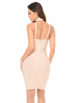 Women's Nude Bandage Halterneck Dress