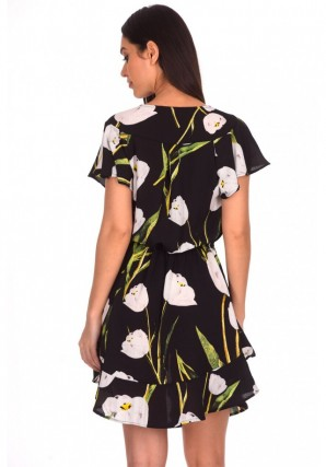 Women's Black Floral Frill Detail Dress