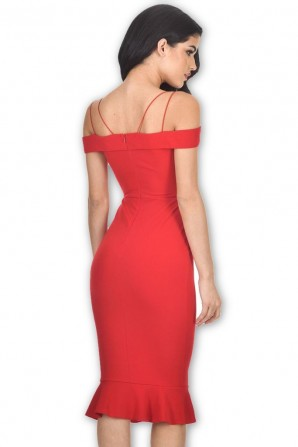 Women's Red Off The Shoulder Fishtail Dress