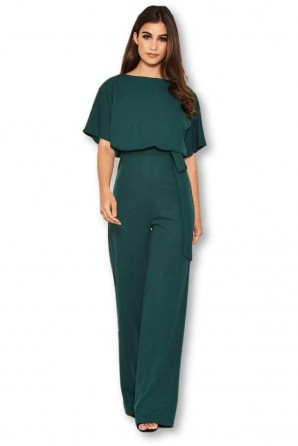 Women's Teal Tie Waist Jumpsuit