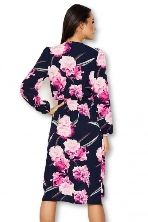 Women's Navy Floral Wrap-Over Dress