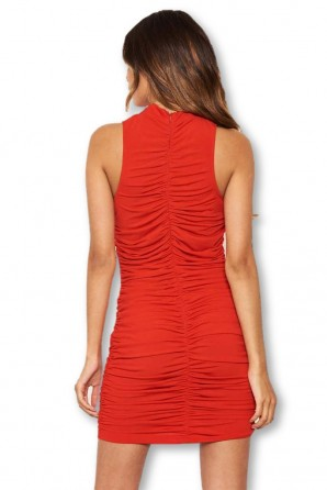 Women's Red High Neck Ruched Bodycon Mini Dress