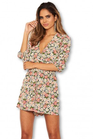 Women's Pink Floral Long Sleeve Wrap Romper