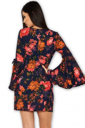 Women's Navy Floral Dress With Statement Sleeves
