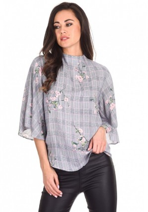 Women's Black Checked Floral Print Top