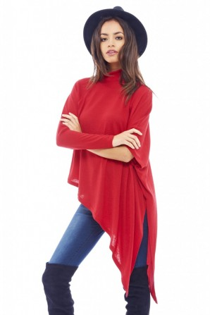 Women's Asymmetric Knitted Red Sweater