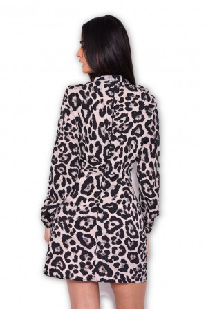 Women's Animal Print Long Sleeve Frill Dress