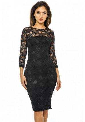 Women's Sequin 3/4 Sleeve Bodycon  Black Dress