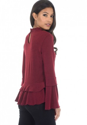 Women's Wine High Neck Frill Top