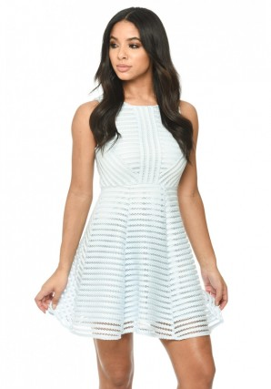 Women's Blue A Line Dress With Mesh Detail