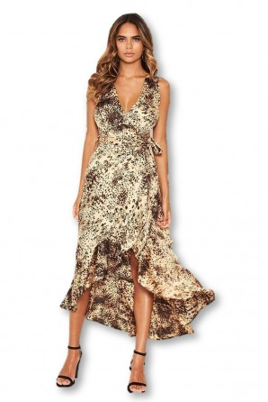 Women's Animal Print Wrap Frill Hem Maxi Dress