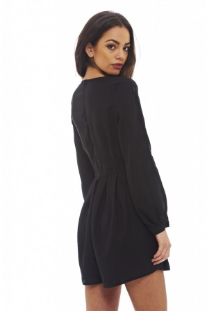 Women's V Neck Split Sleeve  Black Romper
