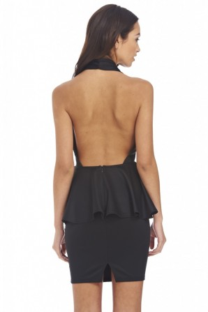 Women's Deep V Halter Neck Peplum Blackdress