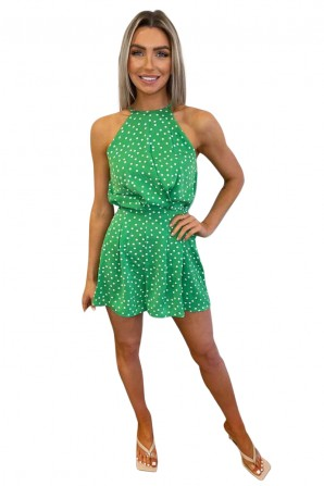 Women's Green Polka Dot High Neck Romper