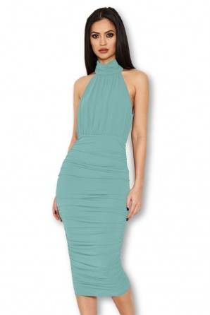 Women's Duck Egg High Neck Ruched Dress