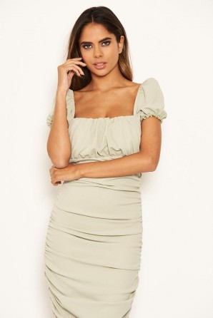 Women's Sage Puff Sleeve Ruched Bodycon Midi Dress