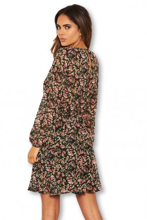Women's Black Floral Long Sleeve Dress