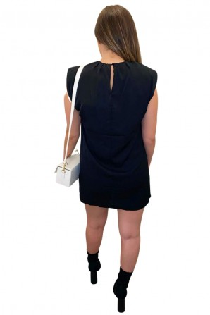 Women's Shoulder Padded Black Shift Dress