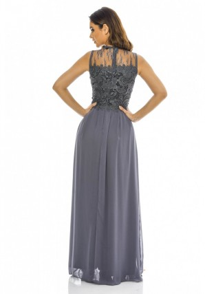 Women's 2 in 1 Sleeveless Lace Top Maxi  Grey Dess