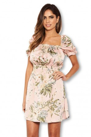 Women's Pink Floral Milkmaid Puff Sleeve Dress