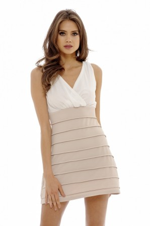 Women's 2 In 1 Skater    Cream Nude Dress