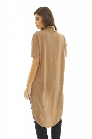 Women's Short Sleeve Dipped Back  Camel Sweater