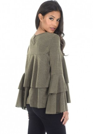 Women's Khaki Frill Long Sleeve Sweater