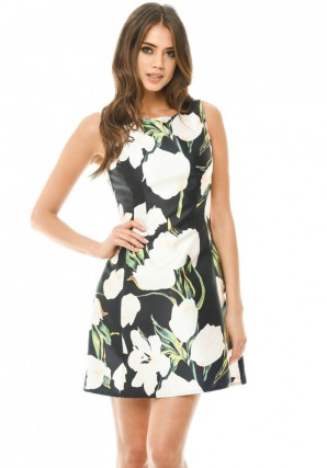 Women's Black Floral Printed Mini Skater Dress