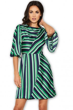 Women's Green striped Skater Dress