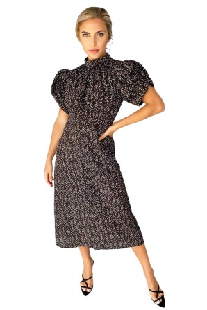 Women's Black Ditsy Printed Midi Dress