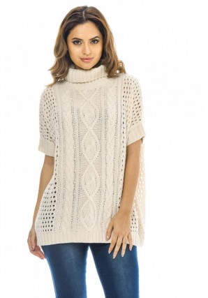Women's High Neck Cable Knit  Cream