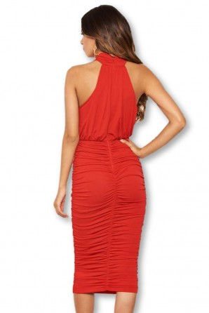 Women's Red High Neck Ruched Bodycon Midi Dress