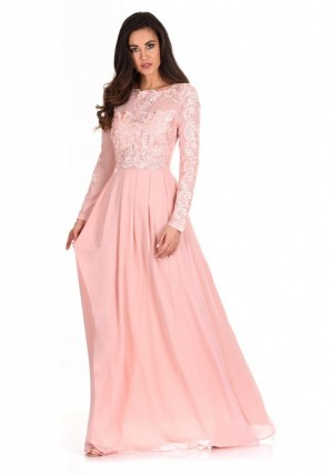 Women's Blush Lace Detail Sleeved Maxi Dress