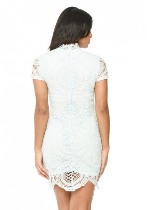 Women's Baby Blue High Neck Lace Mini Dress