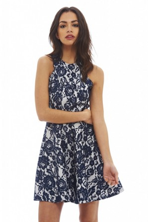 Women's All Over Lace Skater  Navy Dress