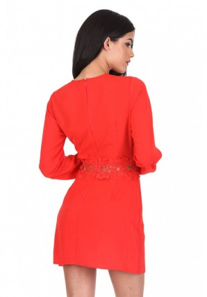 Women's Red Crochet Waist Long Sleeved Dress