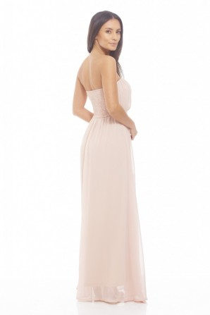 Women's Chiffon Pleat Front Plain Maxi Beige Dress