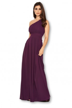 Women's One Shoulder Plum Dress