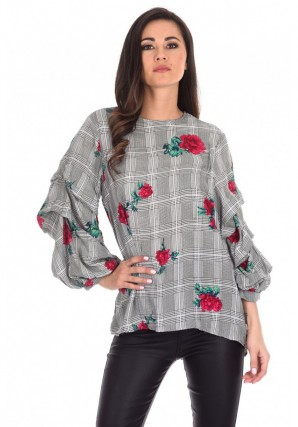 Women's Black Floral Print Ruffle Sleeve Top