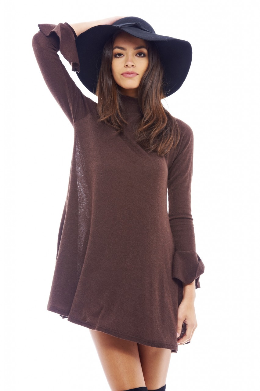 bb31a92f68b2 Women s Long Sleeved Ruffled Chocolate Dress - AX Paris USA-Fashion ...