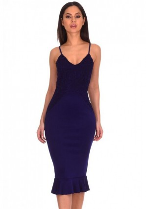 Women's Navy Crochet Detail Frill Midi Dress