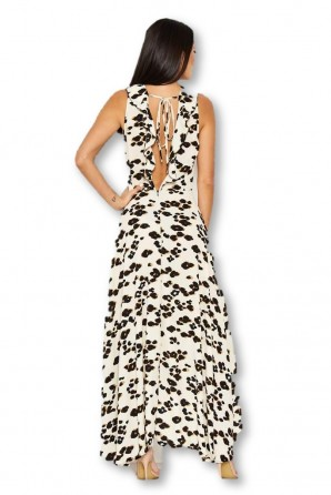 Women's Cream Animal Print Asymmetrical Frill Dress