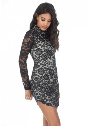 Women's Black and Nude High Neck Long Sleeved Lace Mini Dress