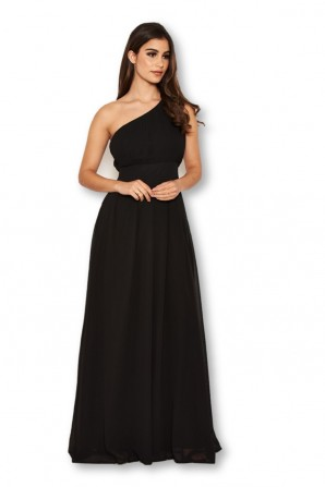 Women's One Shoulder Black Maxi Dress