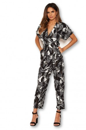 Women's Black Tropical Wrap Knot Jumpsuit