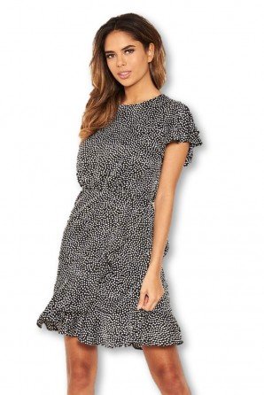 Women's Black Polka Dot Wrap Frill Mini Dress
